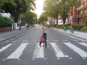 Walking across the famous Abbey Road!