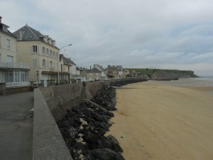 The town and beach of Arromanches on the Northern shore of France