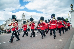 The Guard band parades past as they leave Buckingham Palace
